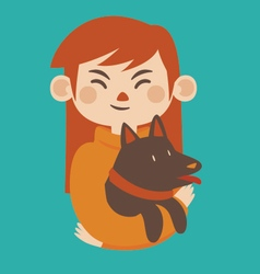 Cartoon girl holding her pet dog vector
