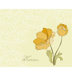 Floral invitation postcard vector