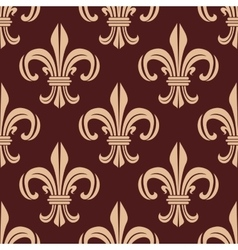 Seamless brown and beige lilies pattern vector
