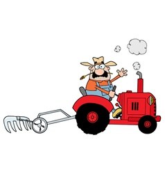 Farmer driving a red tractor vector