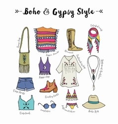 Bohemian fashion style set boho and gypsy vector