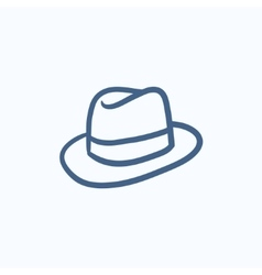 Fedora hat sketch icon vector