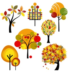 abstract autumn trees vector image vector image