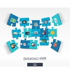 Abstract banking background with connected color vector