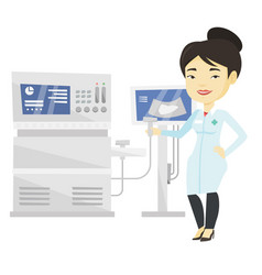 Asian ultrasound doctor vector