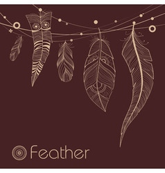Background with decorative feathers vector