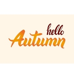 Background with hand drawn hello autumn lettering vector image