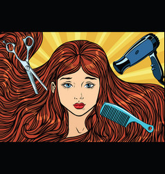 Barber concept the girl with long hair vector