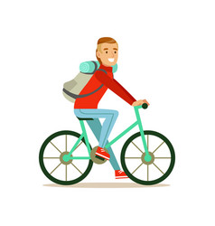 bicyclist traveler with backpack riding a bike vector image