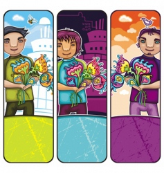 boys with flowers vector image vector image