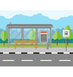 Bus Stop with bench and city background vector image