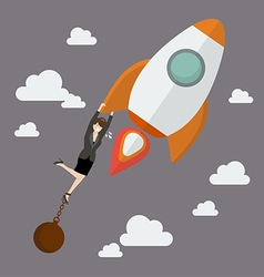 Business woman try hard to hold on a rocket with vector image vector image