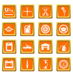 car maintenance and repair icons set orange vector image