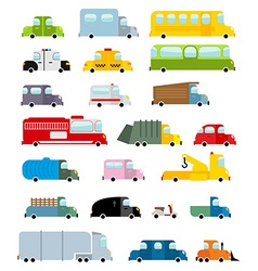 Car set cartoon style Big transport icons vector image