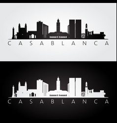 Casablanca skyline and landmarks silhouette vector