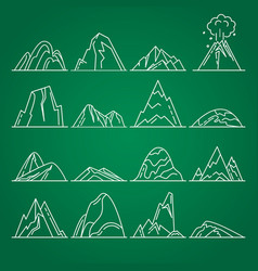 collection of mountain icons in thin line style vector image vector image