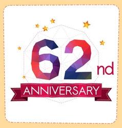 Colorful polygonal anniversary logo 2 062 vector