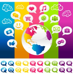 Colorful Social Media Planet Earth with Icons vector image