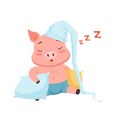 cute pig in hat sleeping funny cartoon animal vector image vector image