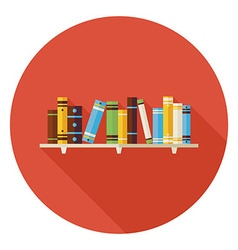 Flat Education Reading Books with Bookshelf Icon vector image