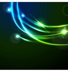Glow flash neon waves shiny template design vector image vector image