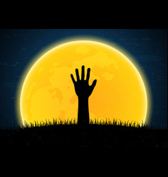 Halloween zombie hand from grave soil vector