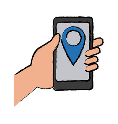 hand holding cellphone with pin map app vector image vector image