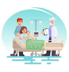 Hospitalization of the patient doctor visit to vector
