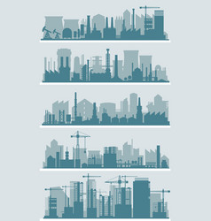 industrial city skyline sets vector image vector image