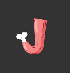 Letter j meat font pork and bone alphabet sign vector