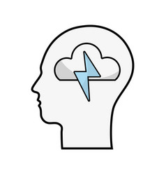 Line silhouette head with cloud and ray inside vector