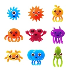 Marine animals balloon characters set vector
