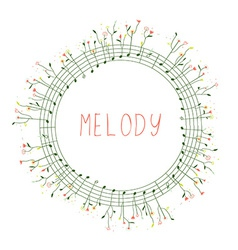 Musical frame with notes and flowers vector image
