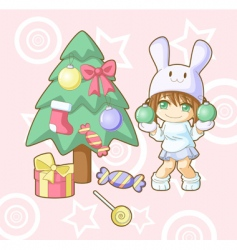 new year white rabbit kawaii vector image
