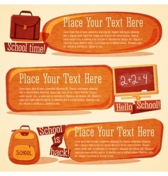 Set of cute school banners with bags chalkboard vector image