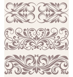 Set vintage ornate border frame filigree vector