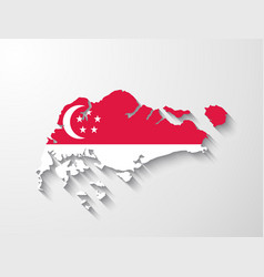 Singapore map with shadow effect vector image vector image