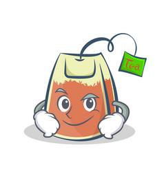 Smirking tea bag character cartoon vector