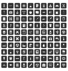 100 chemistry icons set black vector