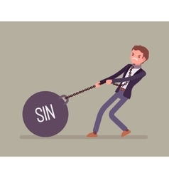 Businessman dragging a weight sin on chain vector