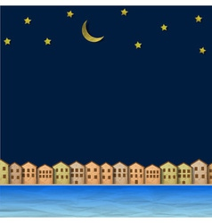 Paper town near river at night vector image