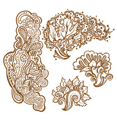 Set of henna tattoo floral ornaments vector