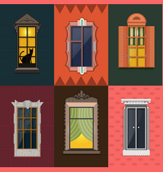 Colorful detailed night windows collection vector