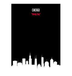 white silhouette chicago urban skyline vector image