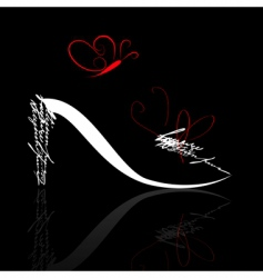 Stylized shoe silhouette with butterfly vector