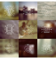 Set of trendy badges and blurred backgrounds vector