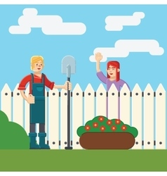 Woman and man near fence wicket in garden vector