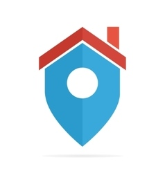 logo combination of a place point and house vector image