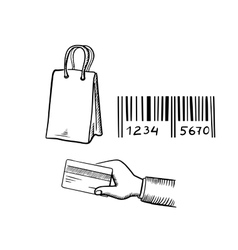 Shopping bag credit card and barcode sketches vector