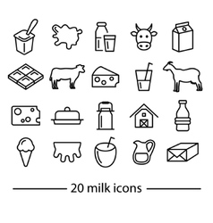 milk line icons vector image